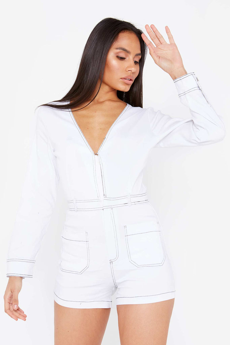 White Contrast Stitch Playsuit