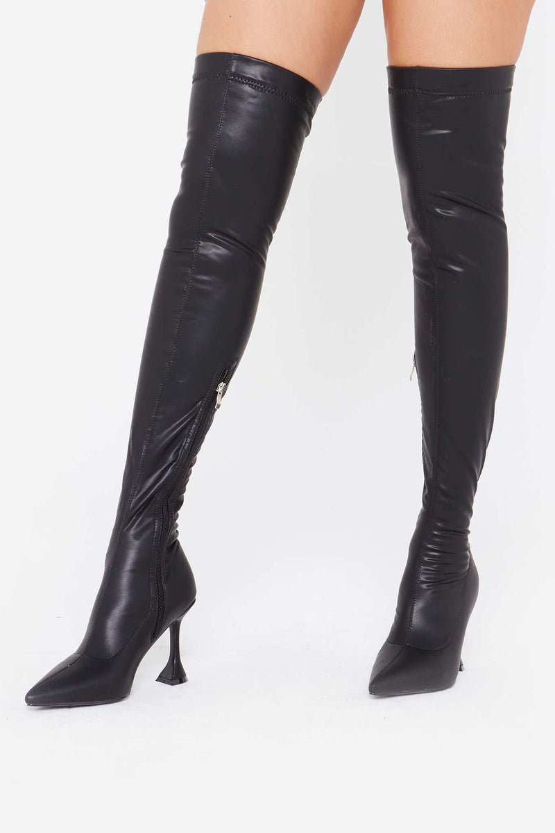 Orla Cake Stand Boots in Black Vegan Matte Leather