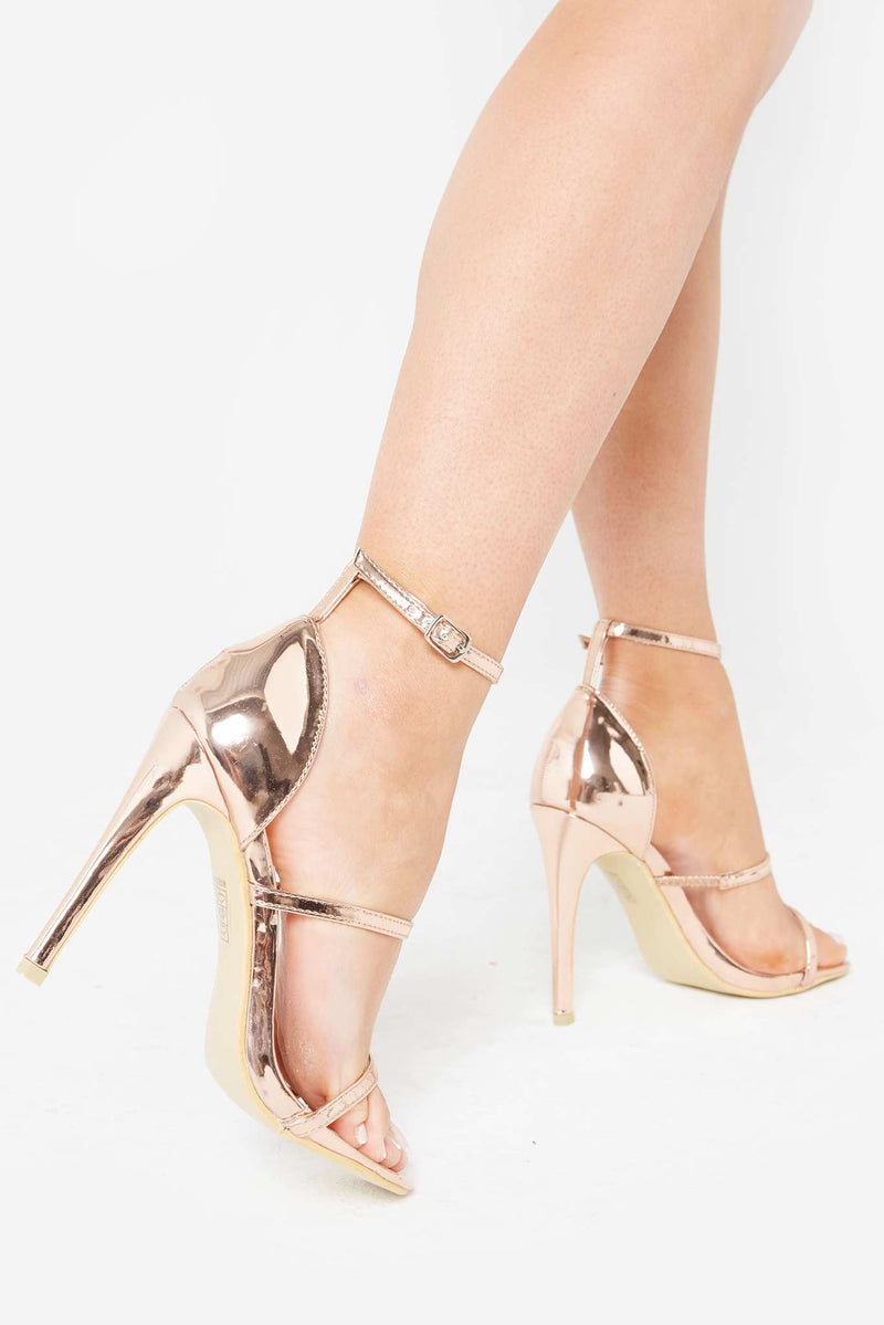 Mary Caged Strappy Heels in Rose Gold