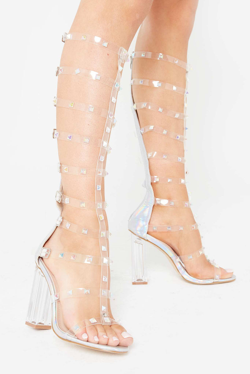 Shanaya Studded Perspex Sandals in Silver Vegan Leather