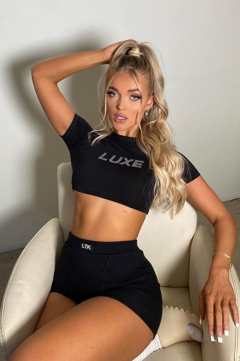 "Black ""LUXE"" Rhinestone Crop Top"