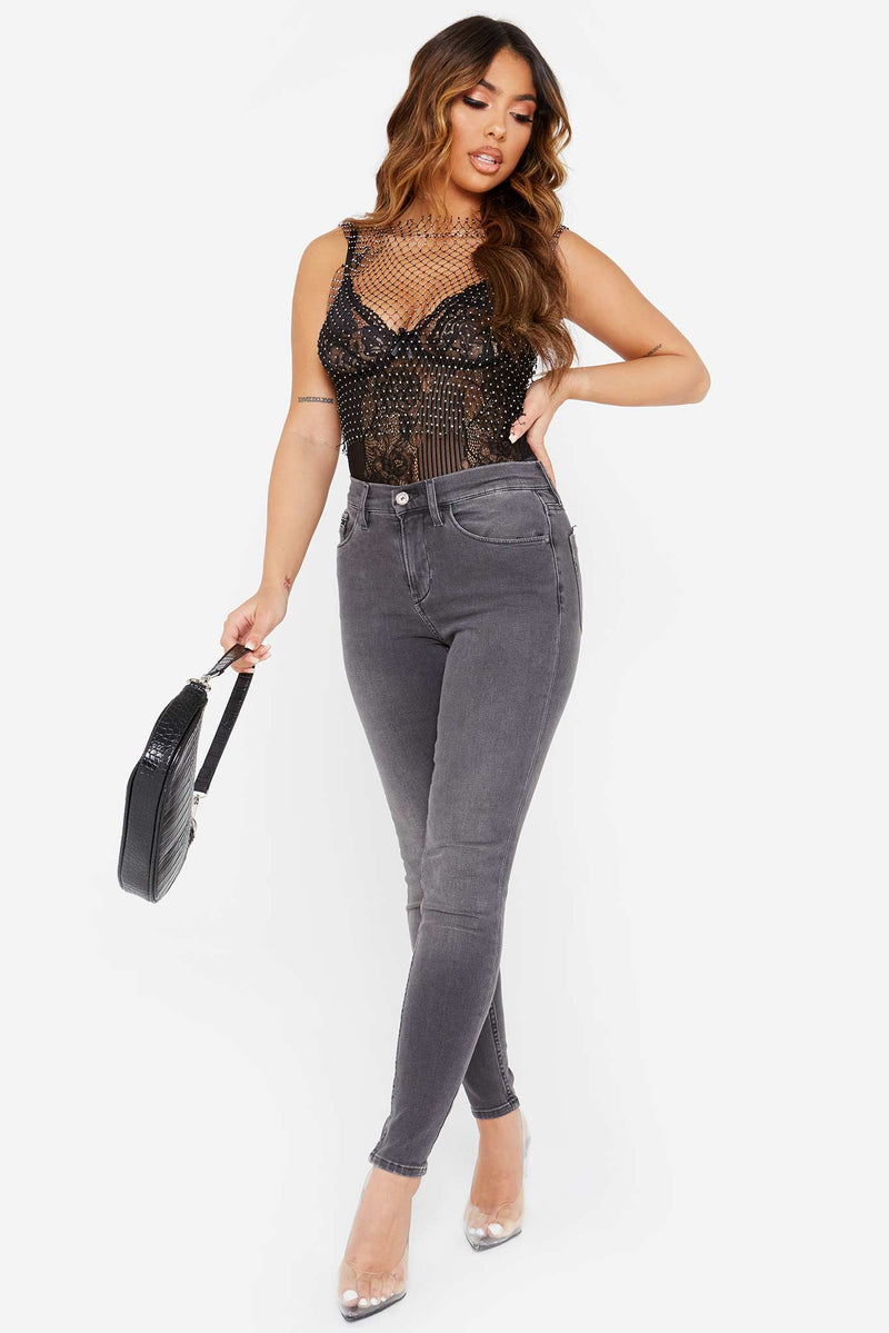 Diamante Black Mesh Crop Top
