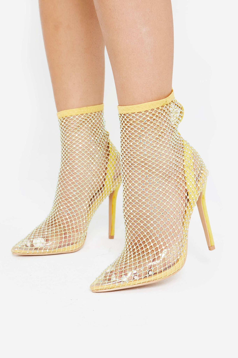 Layla Embellished Fishnet Heels in Yellow Vegan Suede