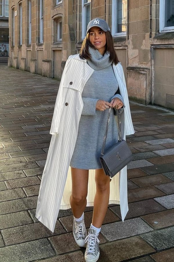 Grey Roll Neck Oversized Jumper Dress