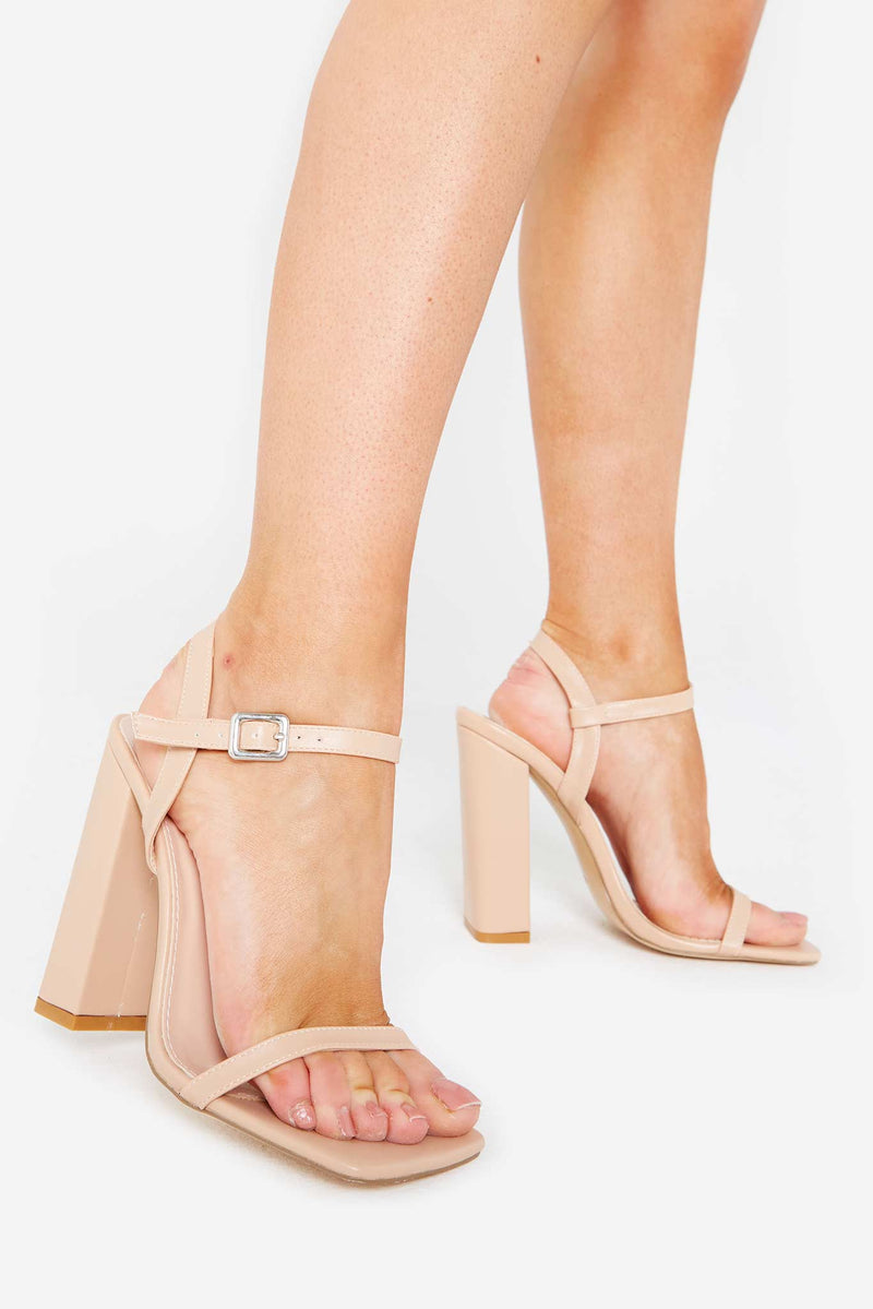 Evelyn Square Toe Heels in Beige Vegan Leather