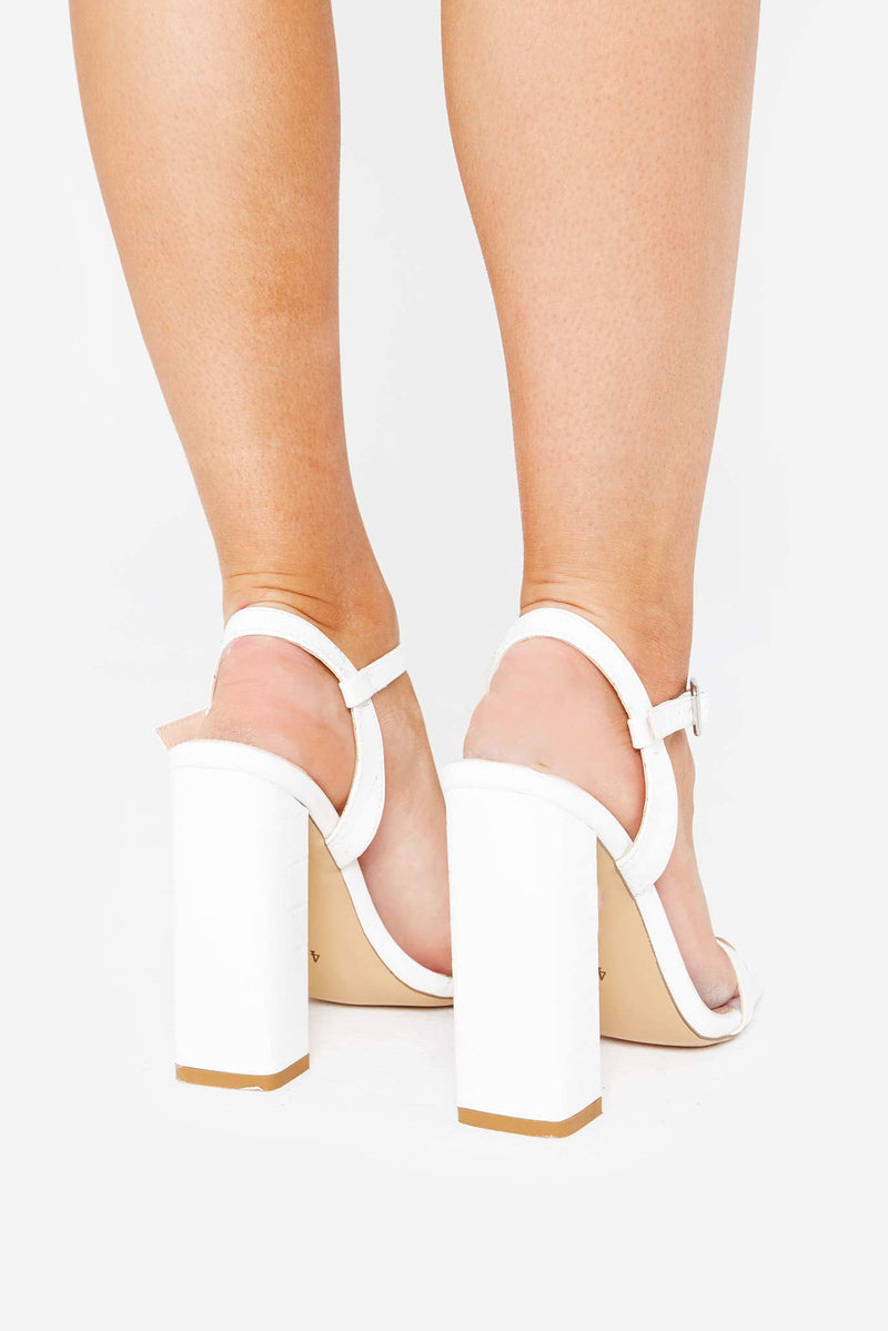 Evelyn Square Toe Heels in White Matte Vegan Leather