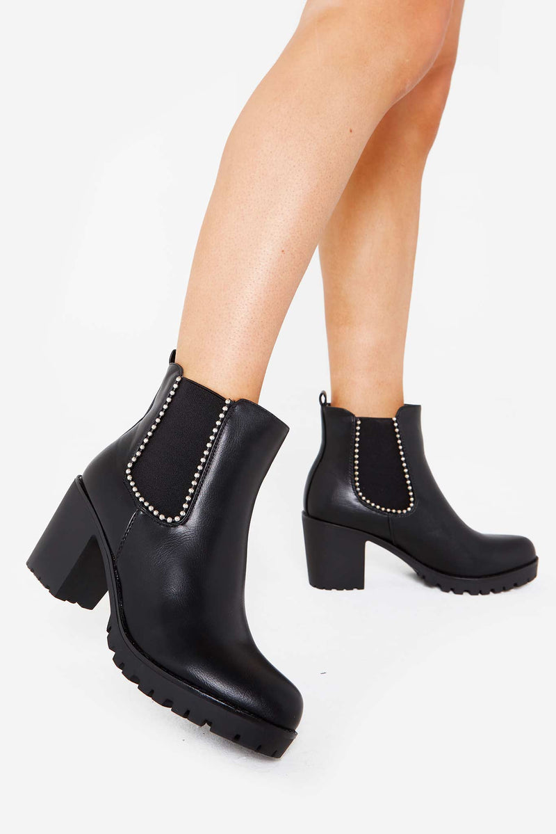Ariel Studded Chelsea Boot in Black Vegan Leather