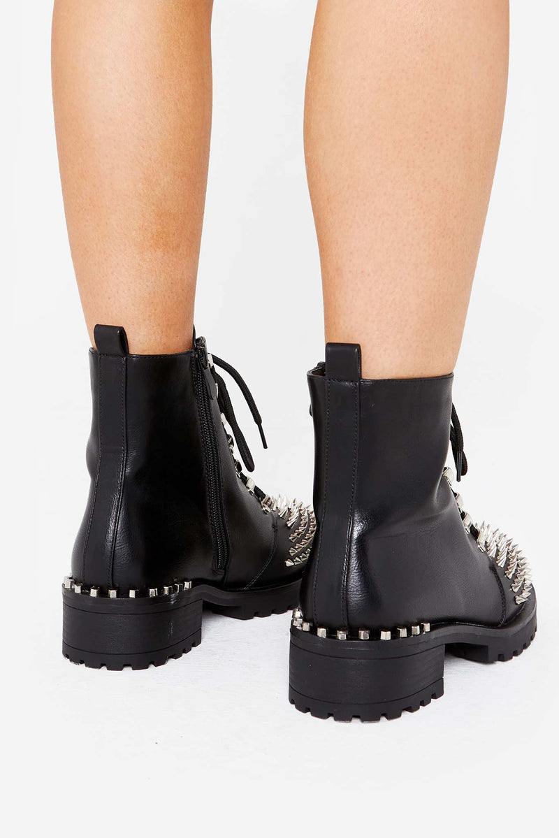 Axel Studded Biker Boots in Black Vegan Leather