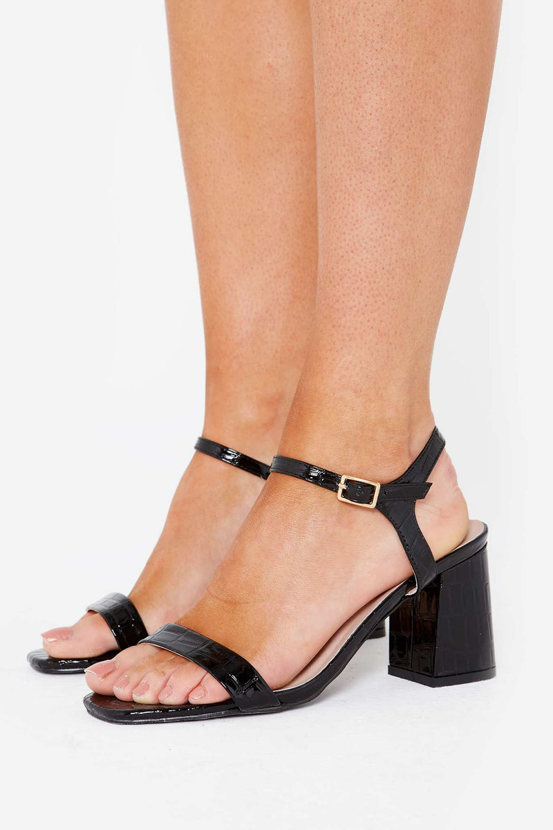Harlow Block Heeled Mules In Black Croc Vegan Leather