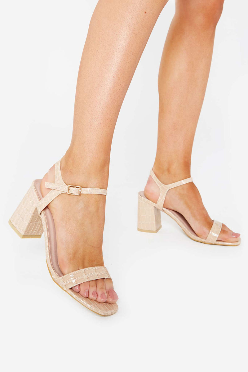 Harlow Block Heeled Mules In Beige Croc Vegan Leather