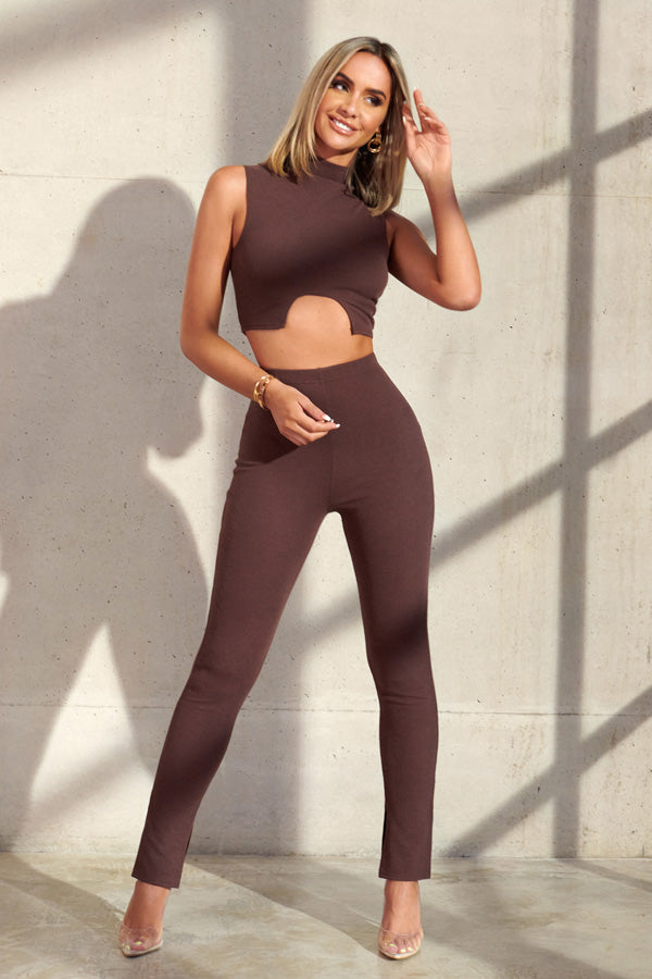 Brown High Waisted Knitted Split Hem Leggings