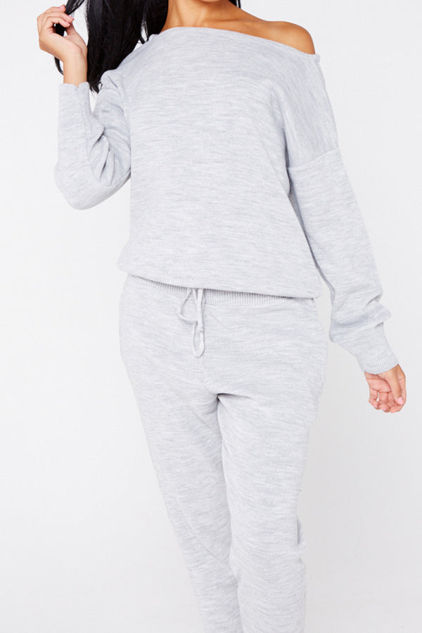 Grey Slash Neck Knitted Lounge Set