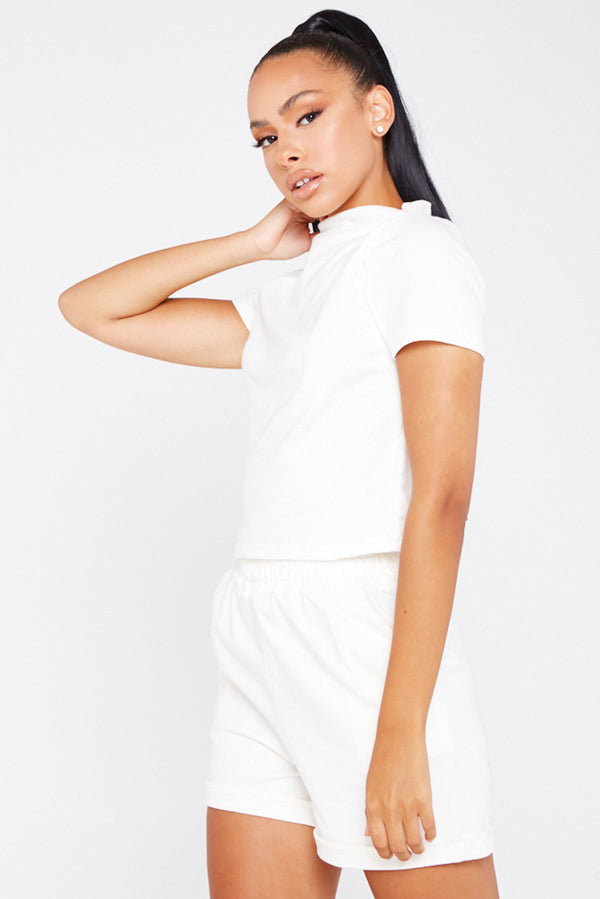 White High Neck Top and Short Co-ord