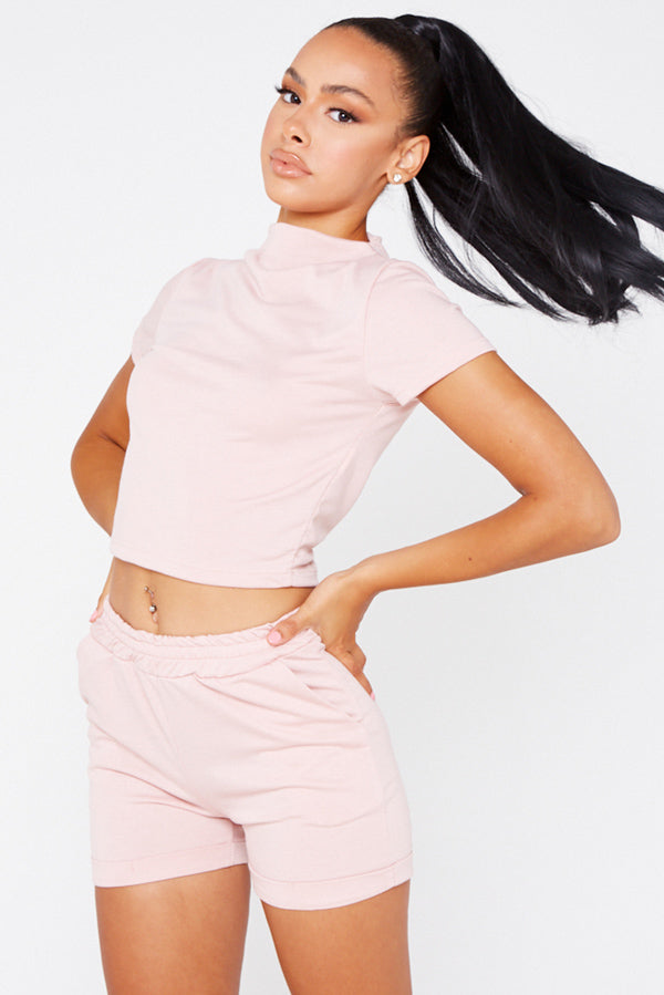 Pink High Neck Top And Shorts Co-Ord