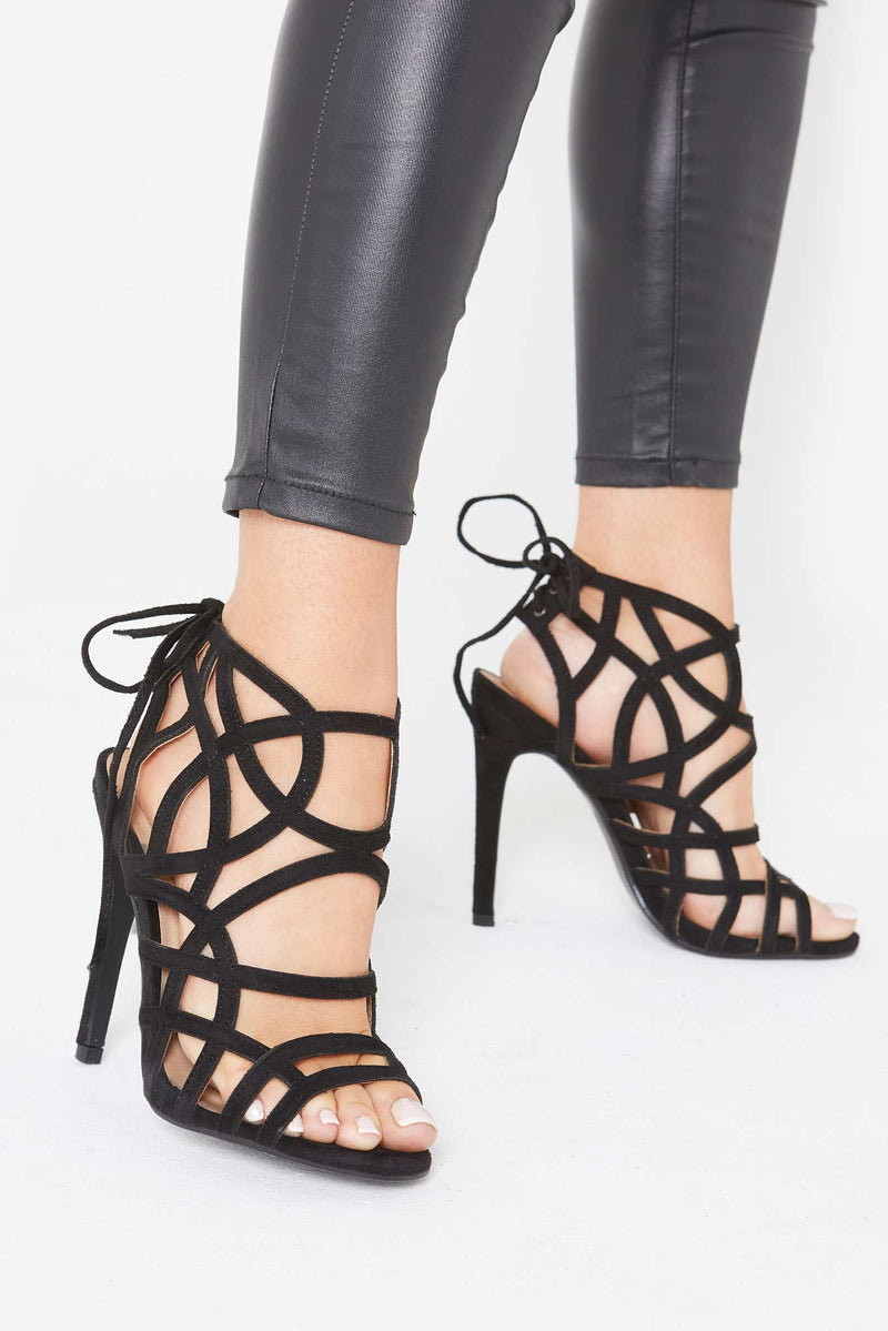 Jennie Cut Out Heels in Black Vegan Suede