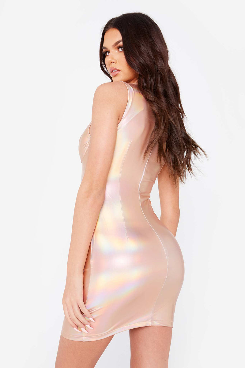 Iridescent Vinyl Underwired Bodycon Dress