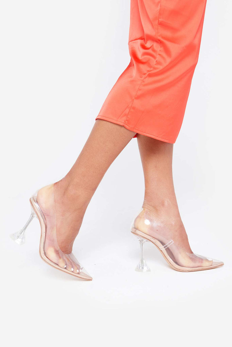 Vienna Perspex Heels In Rose Gold Vegan Leather