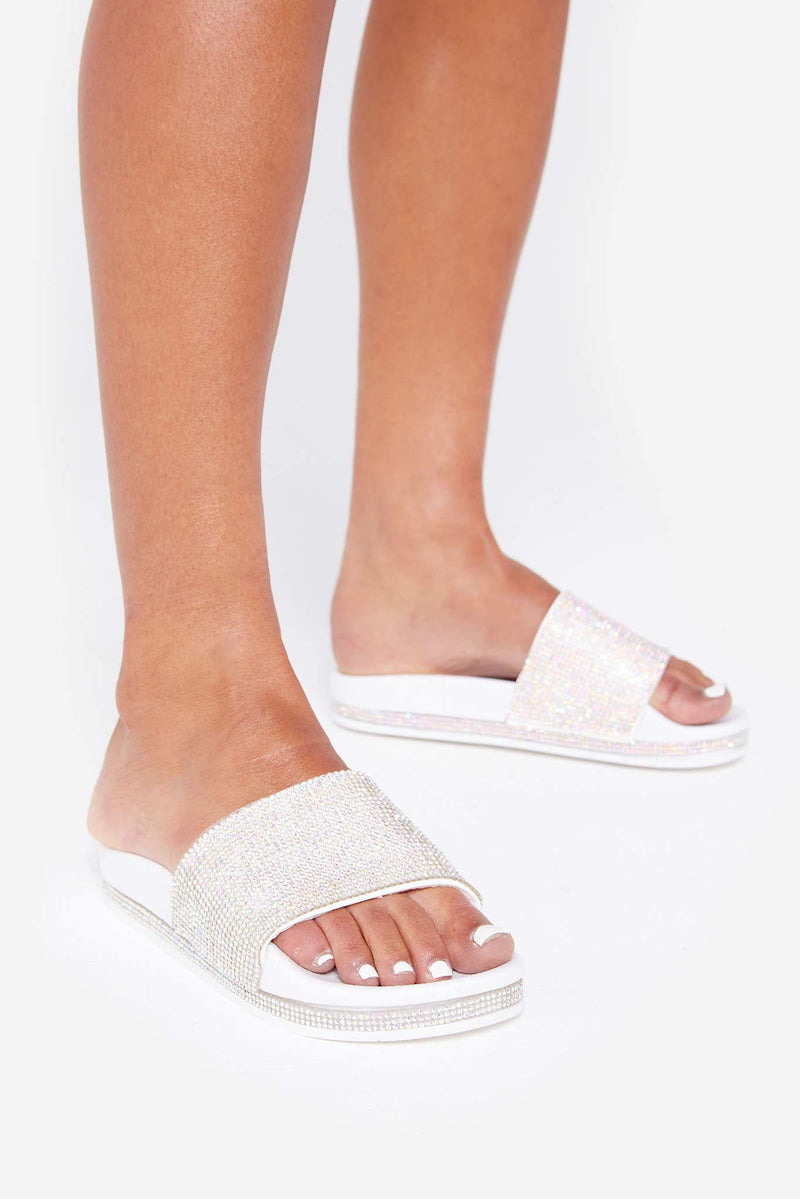 White Taylor Sliders With Pink Diamanté Stripe