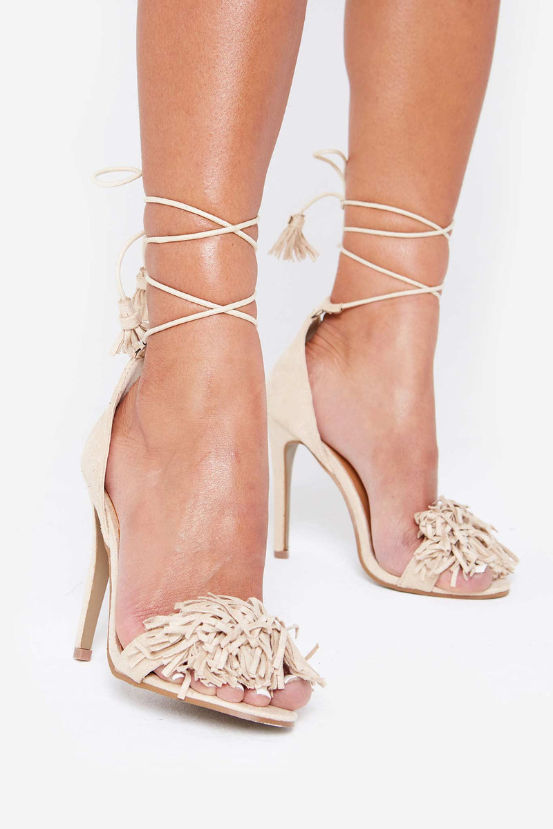 Darby Fringed Heels in Cream Vegan Suede