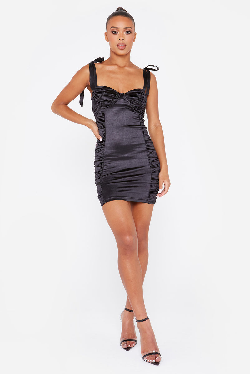 Black Tie Strap Ruched Satin Bodycon Dress