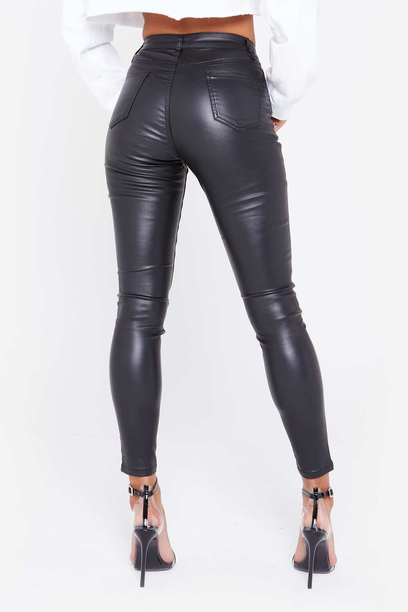 Black Skinny Coated Jeans