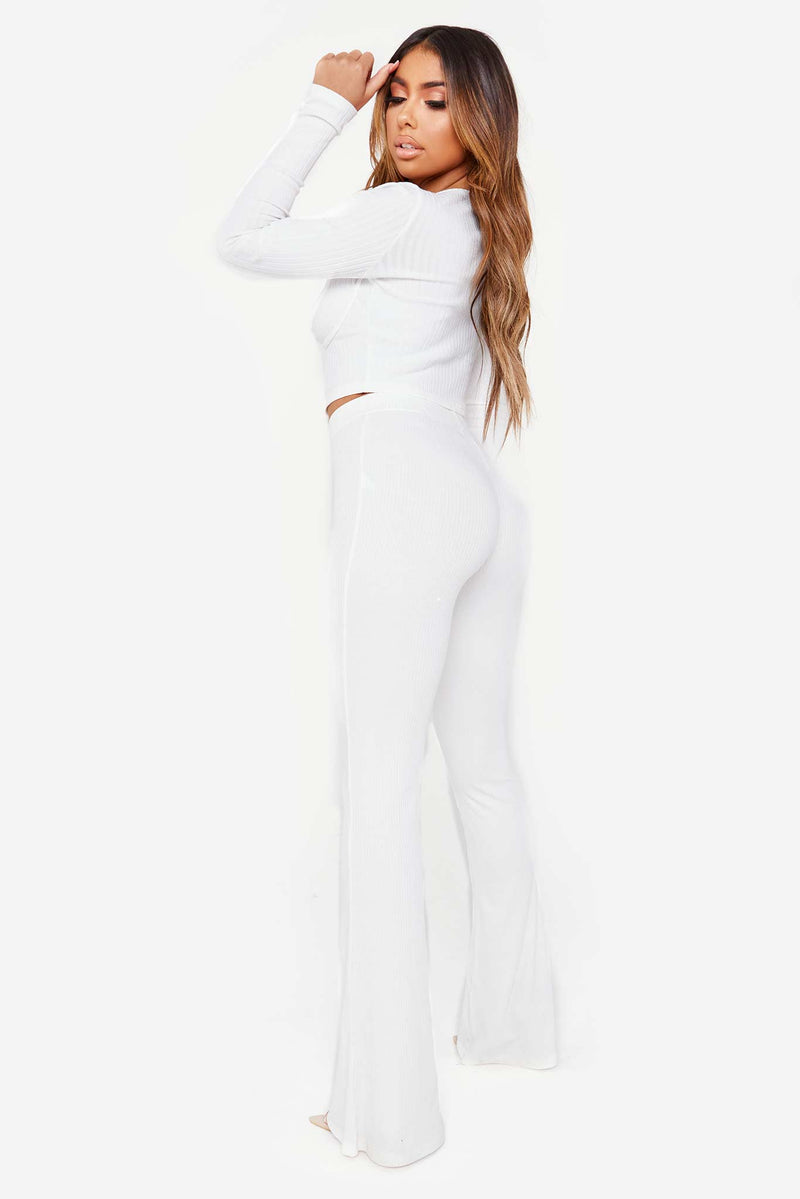 White Ribbed Stretch Wide Leg Pant