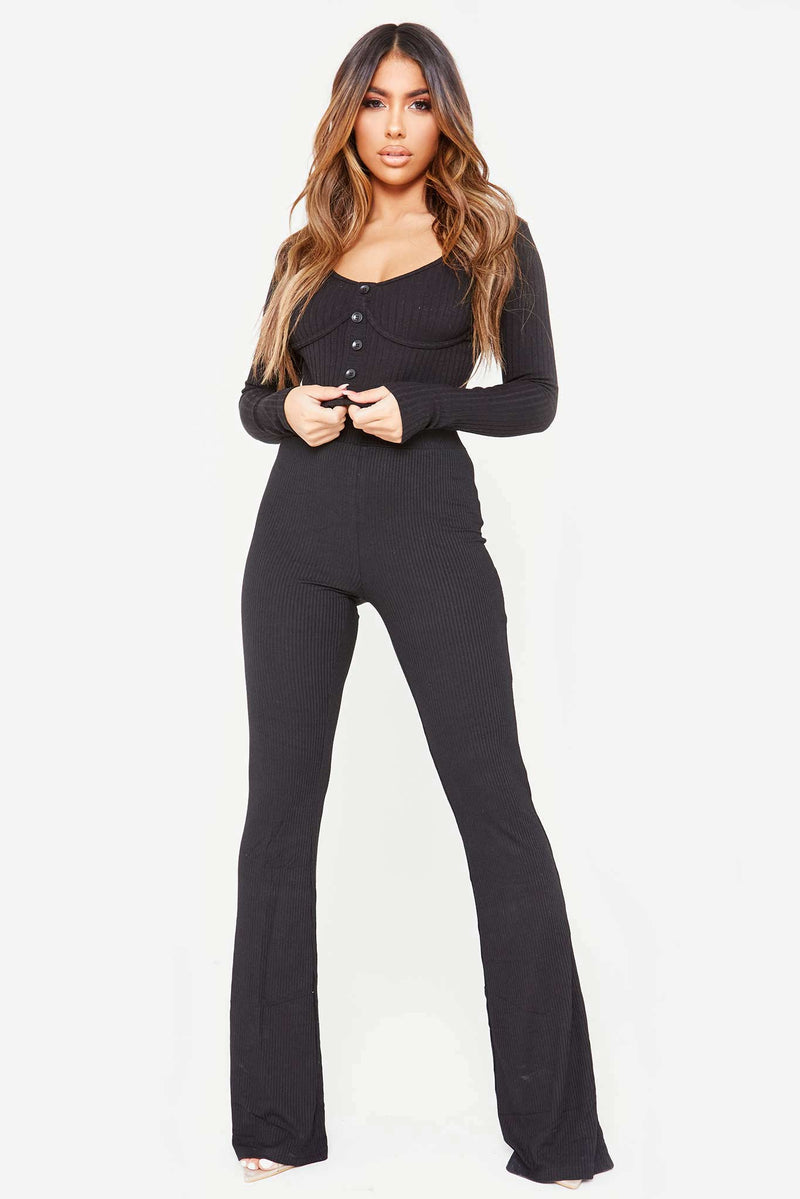 Black Ribbed Stretch Wide Leg Pant