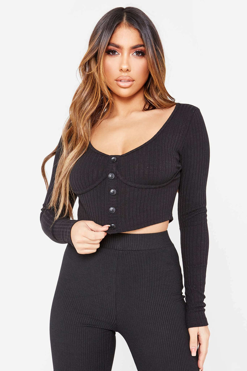 Black Bustier Button Front Top