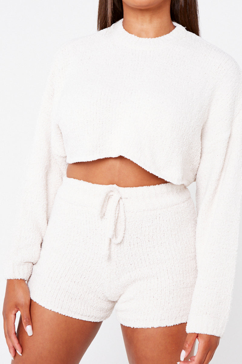 Cream Premium Soft Knit Batwing Crop Top