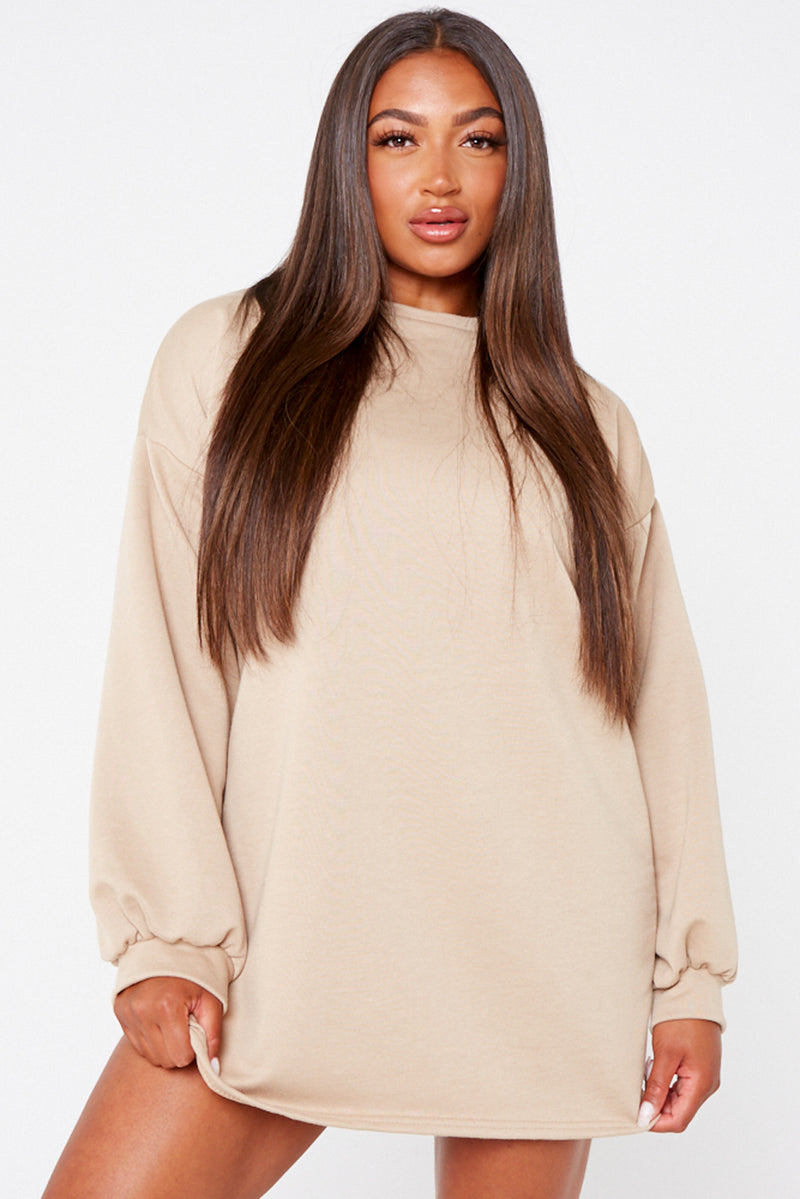 Camel Oversized Basic Sweater Dress