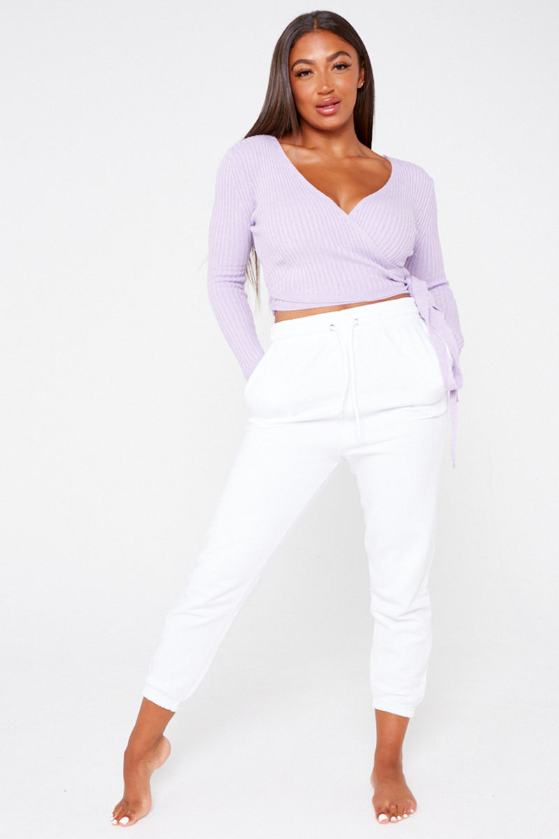 Lilac Plunge Wrap Knitted Top