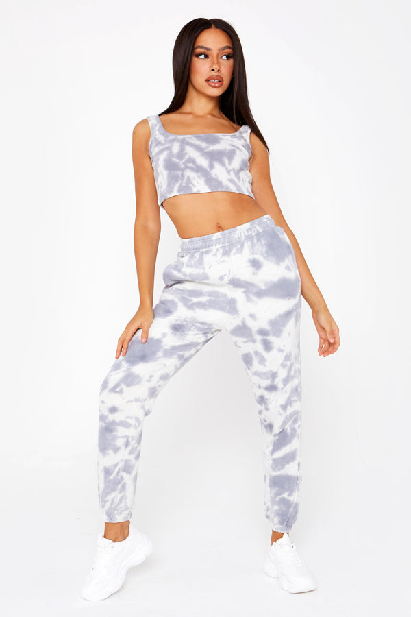 Grey & Sage Tie Dye Scoop Crop Top
