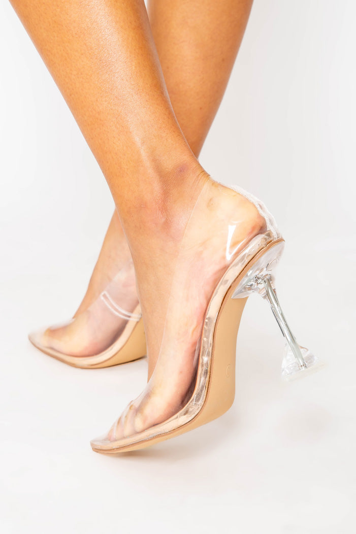 Vienna Perspex Heels in Beige Vegan Leather