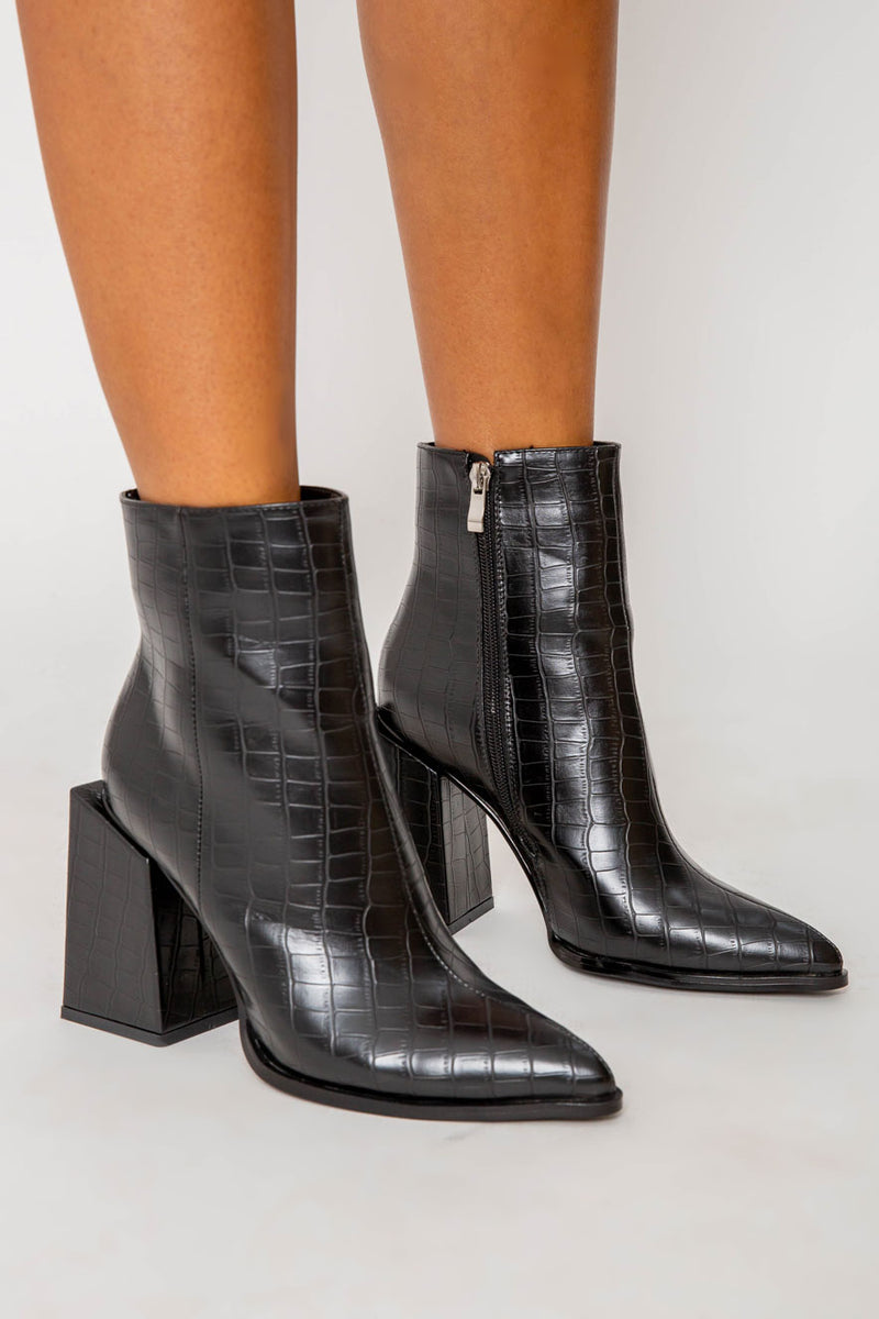 Kirsty Block Heeled Ankle Boots in Black Croc Vegan Leather