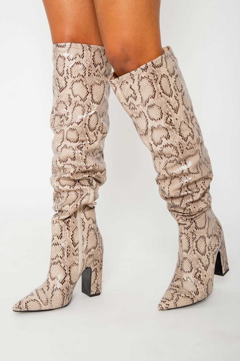 Nyla Slouch Boots In Beige Snake Vegan Leather
