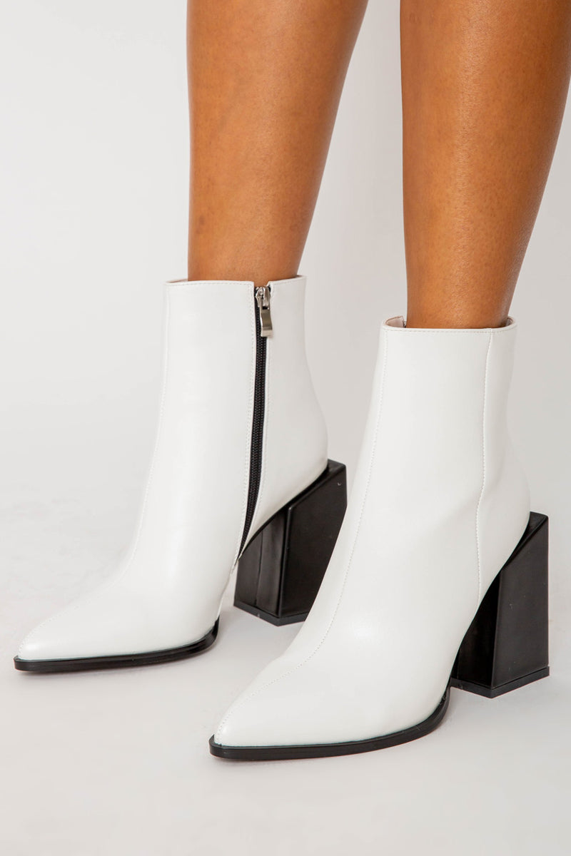 Kirsty Block Heeled Ankle Boots in Matte White Vegan Leather