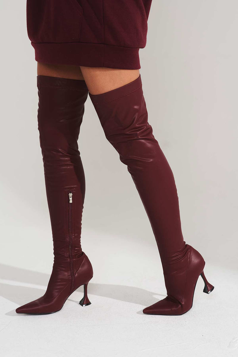 Orla Cake Stand Boots in Burgundy Vegan Matte Leather