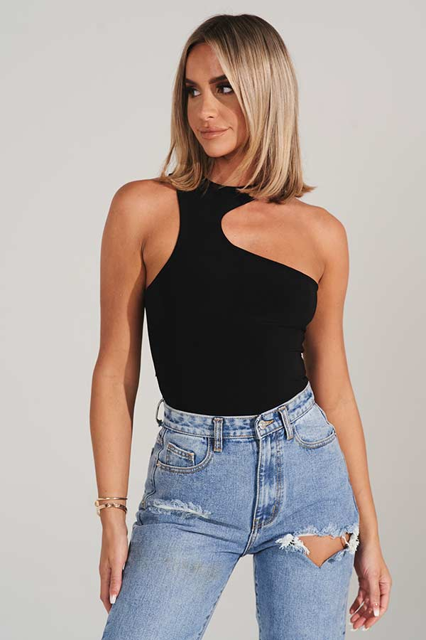 Black Asymmetric High Neck Bodysuit