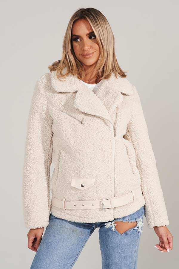 Cream Teddy Biker Jacket