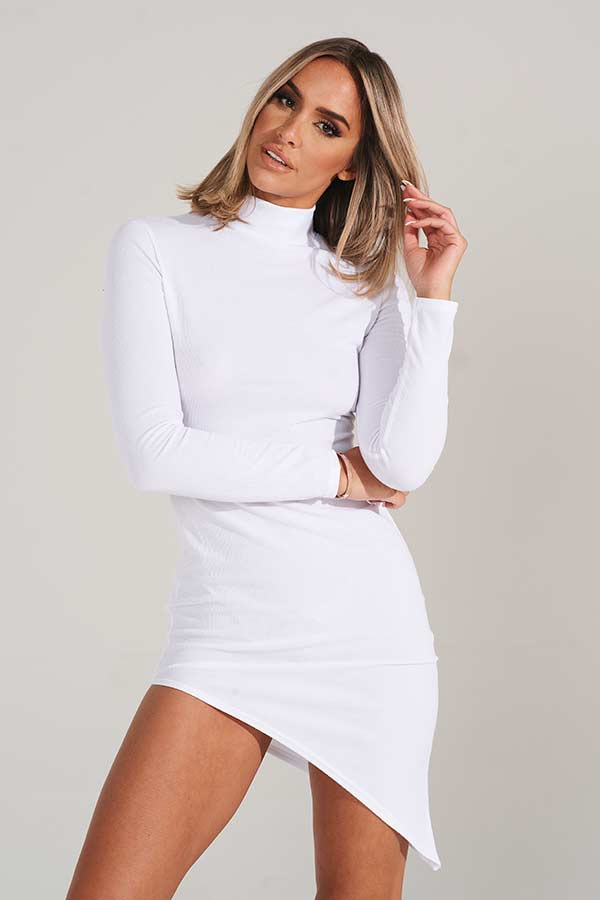 White Asymmetric Hem Knitted Midi Dress
