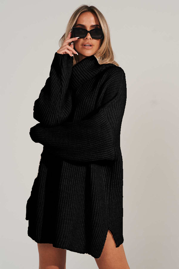 Black Roll Neck Oversized Jumper Dress