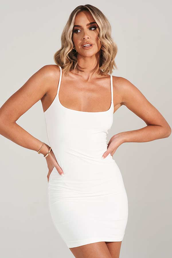 White Scoop Neck Bodycon Mini Dress