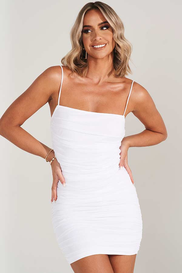 White Ruched Mesh Bodycon Dress