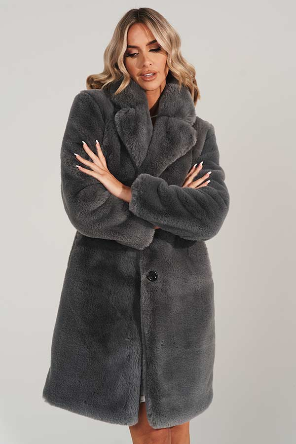 Grey Vegan Fur Midi Coat