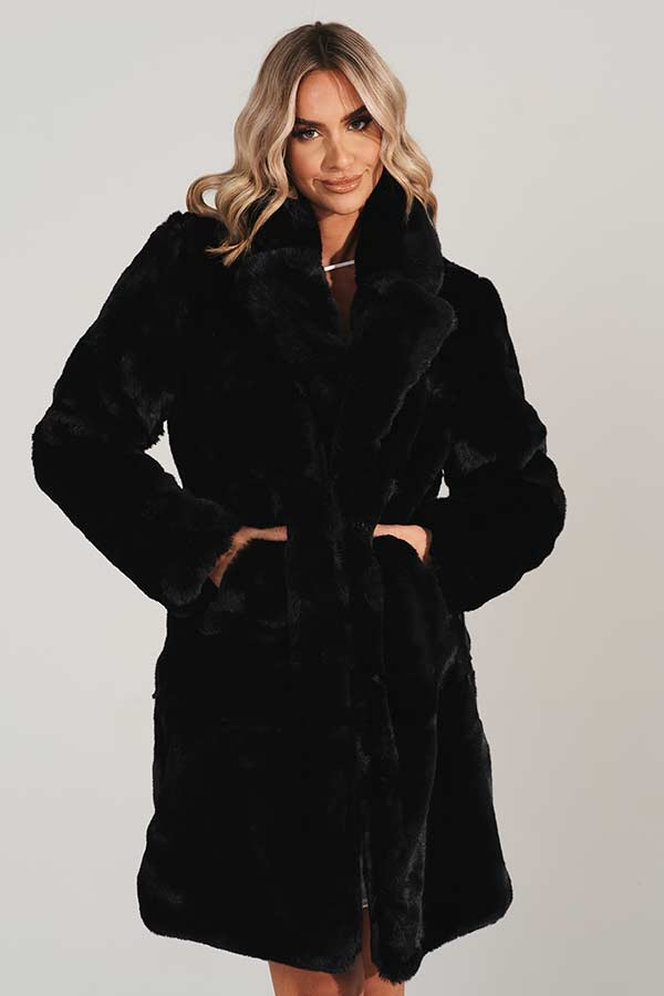 Black Vegan Fur Midi Coat