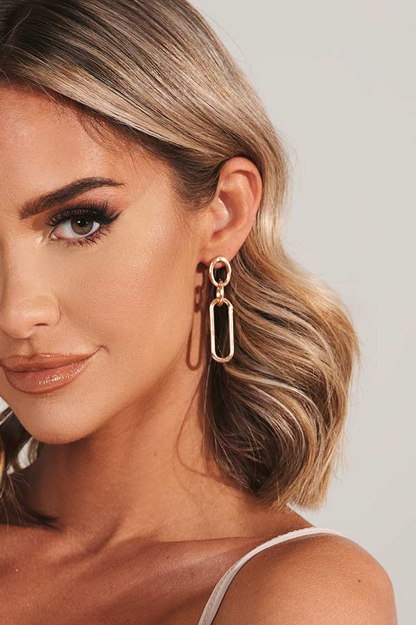 Gold Chain Link Drop Earrings
