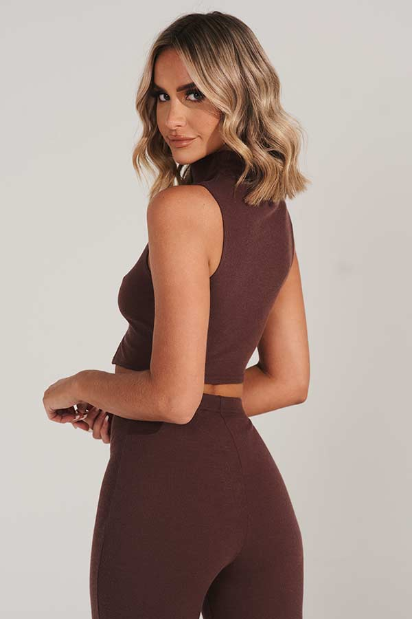 Brown Knitted High Neck Crop Top