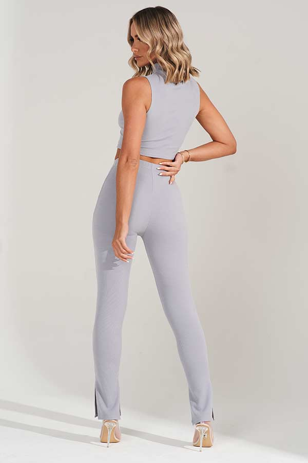 Grey High Waisted Knitted Split Hem Leggings
