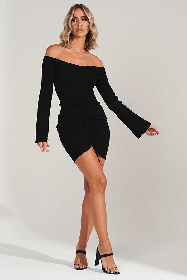 Black Ruched Front Knitted Dress