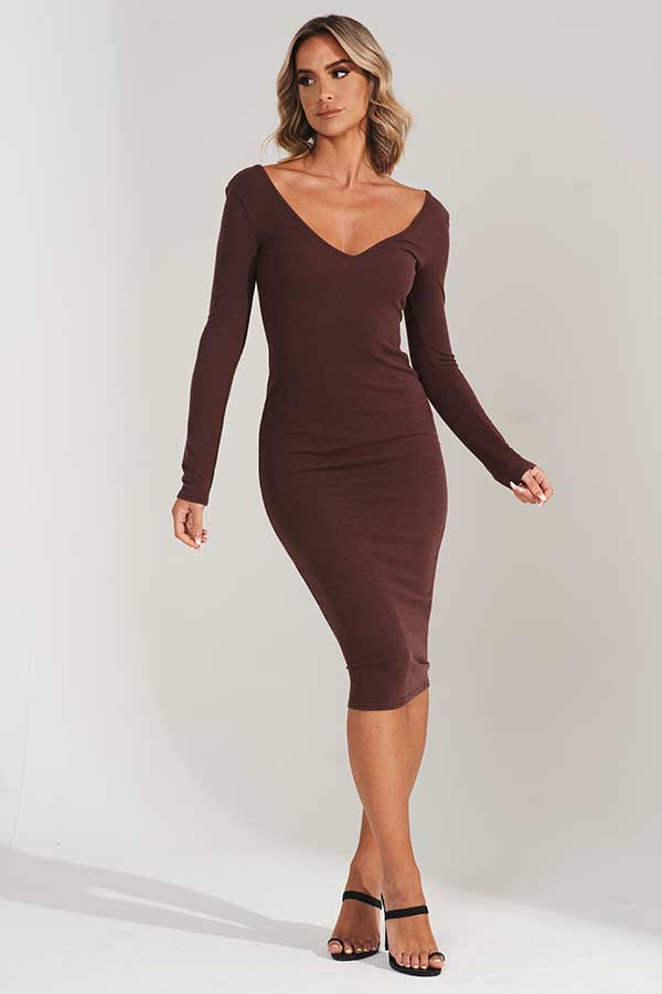 Brown Knitted V Neck Midi Dress